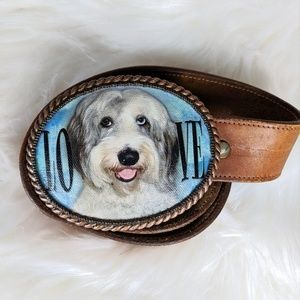 Love Dogs Buckle and Leather Belt